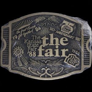 Kansas State Fair Western Cowboy 4H KS Gift Solid Brass 80s NOS Vtg Belt Buckle