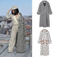 Cardi B Runway Tweed Boucle Extra Long Coat Grid Check Houndstooth Women Winter