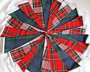 Tartan Bunting Fabric Vintage Hogmanay Lanimer Christmas Burns Night Handmade