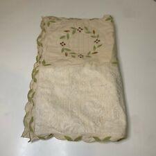 quilt pillow sham cream tan green vine print lace 100% cotton button closure