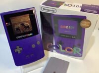Game Boy Color Grape Purple Handheld System CGB-001 with Box & Game | MINT