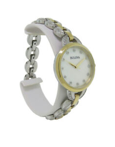 Bulova 98L206 Women's Round Analog Mother of Pearl Clear Stone Stainless Watch
