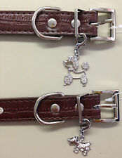 Diamonte Faux Leather Collar with Jewel Pendant in Brown for Puppy Dog in Medium