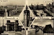 Valencia più immagine carta 1956 El Puerto la Albufera Torres de Serranos miguelete
