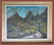 ARTE NAIF paesaggio borgo montagna olio tela del '79 firma Tiziano Gini cornice