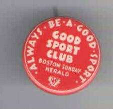 Vintage Good SPORT Club pin BOSTON Sunday Herald NEWSPAPER Premium pinback