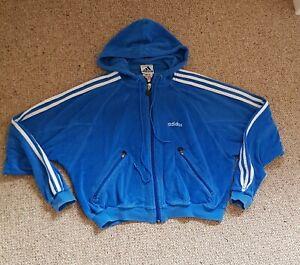 Vintage Adidas Blue Toweling Hoodie Sweat Shirt Style Top 3 Stripe Sleeve