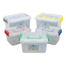 NEW Pack Of 5 Clear Plastic Storage Boxes Box With Clip Top Lids & Carry Handles