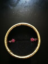 18K yellow gold and russian stone  clip earrings