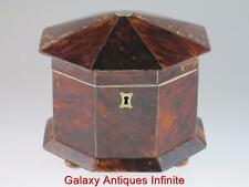 Large Georgian Antique 19th Century Faux Tortoiseshell Tea Caddy Circa 1820