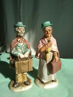 "VINTAGE PORCELAIN FIGURINES OF Traveling  ELDERLY COUPLE BY NORLEANS JAPAN  8"""