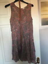 New Look Paisley Print Summer Dress With Belt Size 10 Brown Pink White