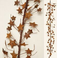 "Rusty Metal Stars Garland 42"" Long Primitive Floral Accent"