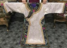 Antique Chinese Silk Damask Robe Roundals Embroidered Double Sleeve Bands