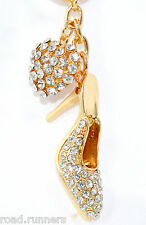 SHOE   HEART Handbag Charm Keyring Diamante Rhinestone Charm Ladies K50789 63f6b6249