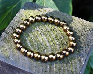 Reiki Energy Natural Pyrite Crystal Stone Gemstone Beads Bracelet Gift Wrapped