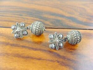 Stunningly Detailed Indonesian Sterling Silver Earrings - Vintage
