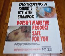 Vtg PETA Animal Rights Activist No Animal Rabbit Product Testing Vegan POSTER