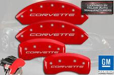 "1997-2004 Chevy ""Corvette"" Base C5 Front Rear Red MGP Brake Disc Caliper Covers"