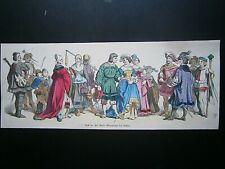 Gravure 19°Moyen Age Allemagne suite de personnages en couleur