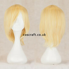 Short medium straight layered cosplay wig, pale yellow blonde, UK SELLER, Lily