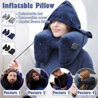 Travel Pillow H Shape Folding Inflatable Neck Cushion Rest Eyeshade Hat /