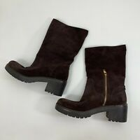 Michael Michael Kors Leather Boots Womens Size 8.5 Dark Brown Suede Side Zipper