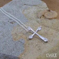 """New 925 Sterling Silver Christian Cross Pendant Necklace with Cubic Zirconia 16"""""""