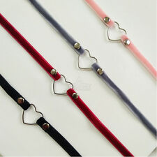 Fashion Gothic Heart Velvet Chocker Necklace Pendant Chunky Bib Chain Jewelry