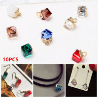 10pcs 2mm Hole Cube Square Faceted Crystal Glass Charm Loose Bead Jewelry Making