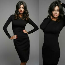 Fashion Women Long Sleeve Peplum Casual Cocktail Evening Party Pencil Midi Dress