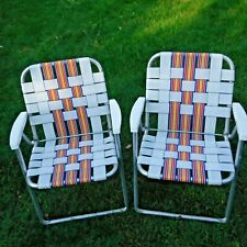 Vtg Pair of Matching Striped Webbed Folding Aluminum Lawn Chairs Patio Camping