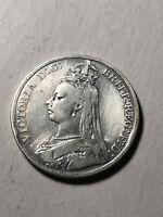 1889 Great Britain Queen Victoria Silver Crown Coin, VF/XF Condition