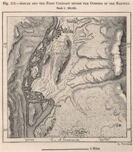 Aswan and the First Cataract before the opening of the Railway.Egypt 1885 map