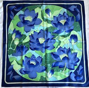Hermes Fleurs De Lotus Blue Multicolor 100% Silk Scarf  VTG