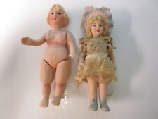 """Vintage Lot of 2 - 5 1/2"""" Shackman All Bisque Dolls"""