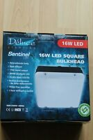 Deluce IP65 255mm LED square bulkhead black/opal cover 16w 6000k Daylight White