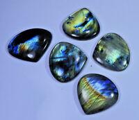 21 Pcs. Lot Natural Multi Flash Labradorite Heart Cabochon Loose Gemstone H59-21