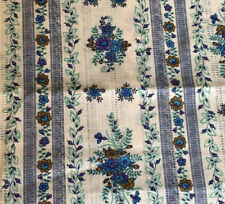 "Vintage Dimity Fabric Open Weave Floral Stripe 6yds + 26"" x 44"" W Blue Off White"