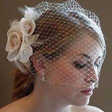 Short White Flower Birdcage Face Veil Bridal Wedding Veil With Comb Head Piece