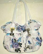 White Floral Clutch Purse Handbag Blue Purple Flowers