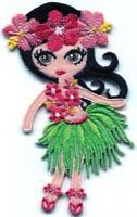 Hawaiian hula dancer girl Hawaii embroidered applique iron-on patch S-1586