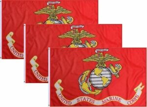 Wholesale Lot OF 3 3X5 USA MARINES FLAG FLAGS (LICENSED) 100D PREMIUM MATERIAL