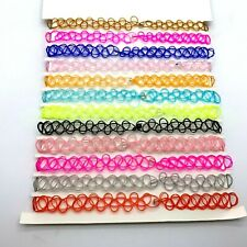 SET 12 Necklace Plastic Tattoo Choker Stretch Elastic Pink Blue Red Gold Black