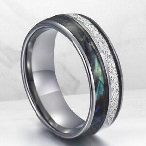 8MM Mens Tungsten Carbide Ring Half Meteorite Opal Engagement Wedding Band