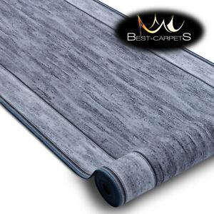 Modern HALL Runner Rugs 'RAMA' grey NON-slip Stairs Width 67-120cm extra long