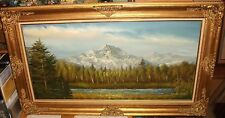 H.YELLOWMAN HUGE SNOW MOUNTAIN RIVER LANDSCAPE OIL ON CANVAS PAINTING