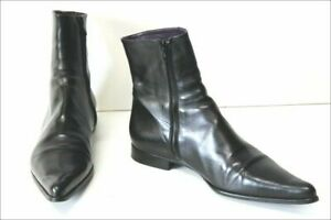 FREE LANCE FRANCE BLACK LEATHER POINTED TOE ZIP LOW HEEL ANKLE BOOTS 40 AU 9-10