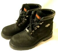MEN'S HARLEY DAVIDSON BOOTS Excellent Black Suede Leather Motorcycle Shoes 8.5