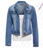 DONNA PERLA Giacca di Jeans da elasticizzato giubbotti TAGLIA 6 8 10 12 14 BLU